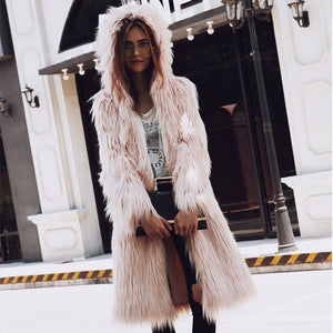 Furry Long Faux Fur Teddy Coat Winter Fluffy Hoodie Hooded Coat Chic Outerwear