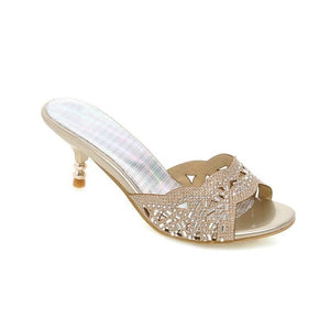 Sexy Thin Heels Women Sandals Rhinestone High Quality Summer Shoes