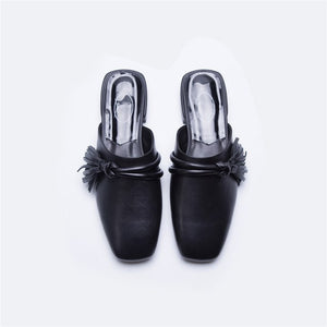 Slippers Genuine Leather Summer Elegant Shallow Casual Lady Shoes
