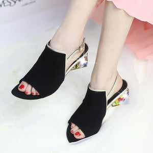 Summer Sheepskin Suede Leather Women Sandals Rhinestone Med Heels Shoes