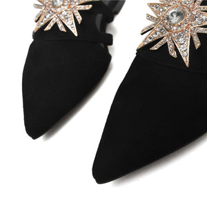 Low Heels Four Seasons Single Rhinestone Genuine Leather Pointed Toe Women Shoes