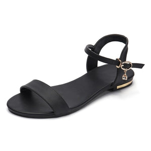 Genuine Leather Sandals Women Shoes Fashion Flat Summer Rhinestone Shoes