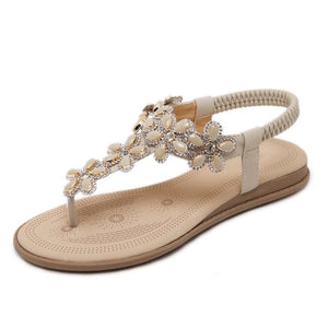 Bohemia Flat Sandals Crystal Summer Shoes Flip Flops Ladies Sandals