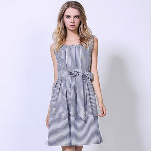 Women Blue Striped Print Sexy O-Neck Sleeveless Sundress
