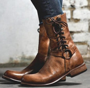 Women Vintage Lace Up Flat Boots Fall Spring Shoes