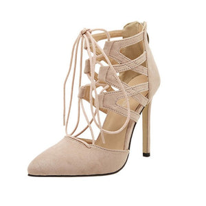 High Cross-Tied Thin Heel Ladies Block Ankle Strappy Lace-UP Party Shoes