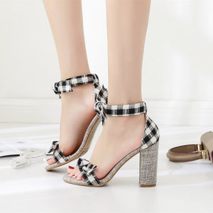 Elegant Sweet Plaid Bow  Fish Mouth Cloth Super High Heels Casual Shallow