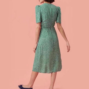 Long Short Sleeve Green Floral Korean Party Dress Beach Vestidos