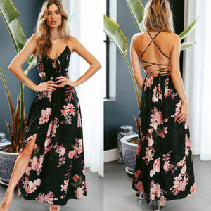 Women V Neck Spaghetti Straps Floral Printed Lace up Backless Slit Side Long Dress