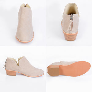 Women Boots Square Heel Slip on Pointed Toe Shoes