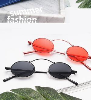 1990s Retro Small Round Oval Sunglasses Women Vintage