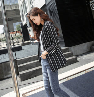 Striped Blazer Jacket Vintage High Quality Fashion Office lady Elegant Blazers