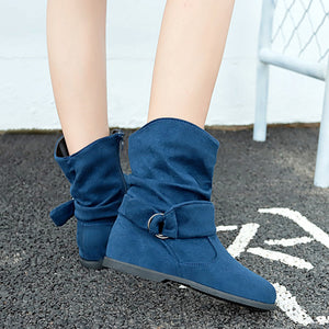 Vintage Style Women Flat Booties Soft Boots Shoes