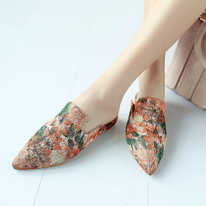Pointed Toe Women Flats Summer Printing China's Style Fashion Shoes