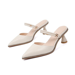 Genuine Leather Top Quality Women Sandals Shallow Pointed Summer Elegant Solid High Heels Shoes