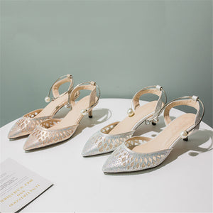 Top Quality Women Sandals Pointed Toe Summer Shoes Hollow Out Crystal