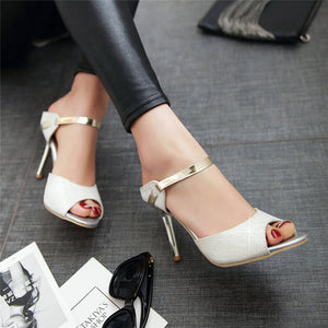 Fashion Women Sandals Peep Toe Elegant Party Wedding Slip Sexy High Heels Shoes