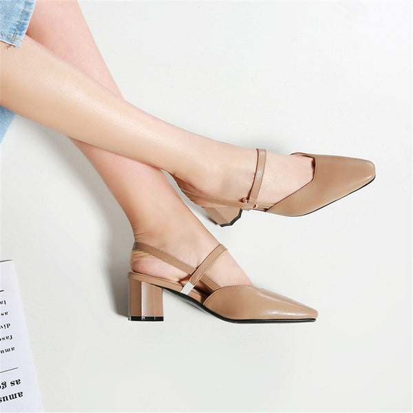 Women Sandals High Quality PU Shallow Slip Square High Heels Shoes