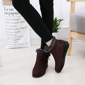 9e55023ef387 Women Winter Snow Boots Warm Ankle Boots Lady Flat Low Heel Shoes