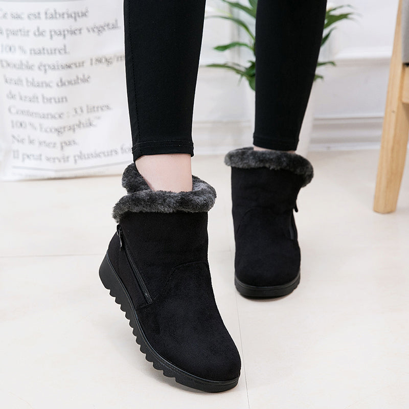 3e3f99b23aaf ... Women Winter Snow Boots Warm Ankle Boots Lady Flat Low Heel Shoes ...