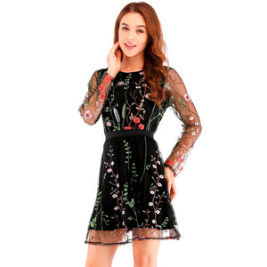 Women Floral Embroidery Sheer Mesh Summer Boho Mini A-line Dress