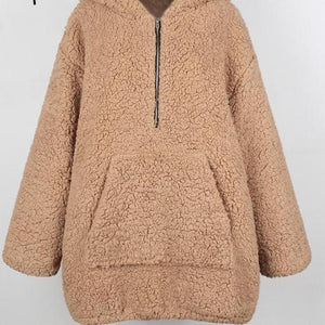 Faux lambswool thick  Winter warm teddy coat Hooded fur