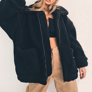 Faux Fur Teddy Coat Women Autumn Winter Warm Soft Jacket Outerwear