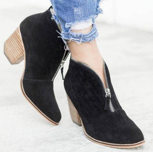 Women Ankle Boots Autumn Chunky High Heels Pumps Shoes