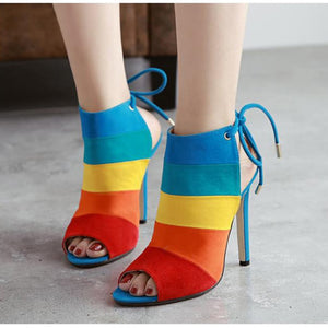 Matte Suede Fish Mouth Shoe High Heels Back Foot Ring Straps  Matching Stiletto Sandal