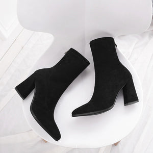 Womens Ankle Sock Boots Pointed Toe Yarn Elastic Thick Heel High Heels Shoes