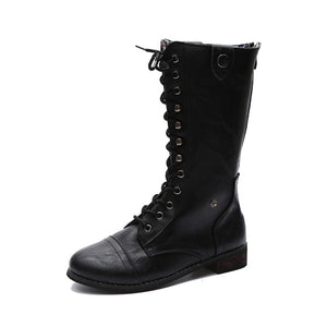 Women Lace Up Boots Autumn Motorcycle Boot Casual Buckle Shoes