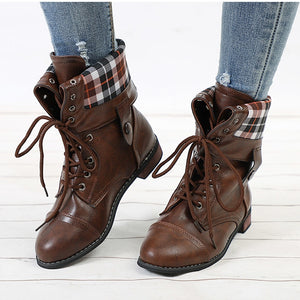 Women Ankle Boots Autumn Lace Up Motorcycle Boot Casual Buckle Low Heel Shoes