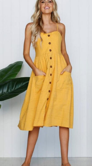 Women Vintage Elegant Bohemian Summer Beach Dress With Pocket