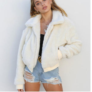 Women Casual Faux Fur Teddy Bear Coat Winter Jacket