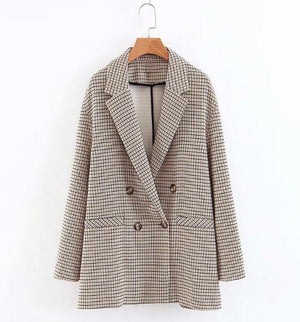 Retro Boyfriend Check Plaid Blazer Casual Jacket Coat Outerwear