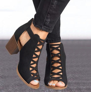 Women Ankle Boots Peep Toe Cut Out Shoes Chunky High Heels Sandals