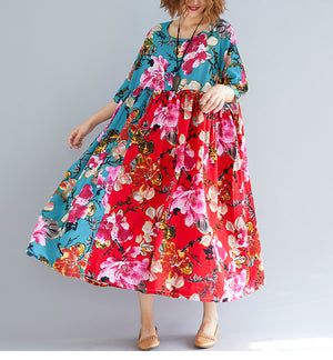 Women Elegant Vestidos Print Floral Casual Pleated Red Dress