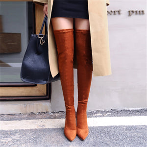 Womens Casual Over The Knee Boots Thin High Heels Shoes