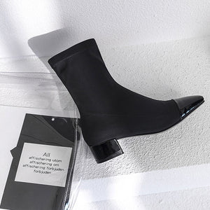 Patchwork Women Fashion Boots Square Toe High Heel Women Shoes
