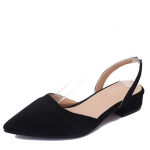 Slingback  Sandals  Flock Casual Footwear Pointed Toe Elegant Low Heels Shoe