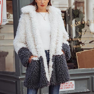 Fluffy faux fur splice coat  Elegant thick warm plush outwear