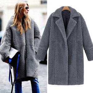 Women Winter Faux Fur Coat Solid Long Jacket Outerwear