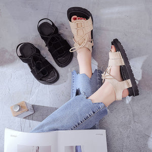 Gladiator Lace Up Flat Sandals Solid Round Toe Cross Tie Ankle Strap