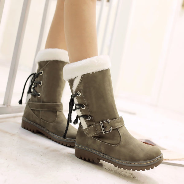 Women Snow Boots Classics Mid Calf Booties Patform Lace Up Warm Shoes