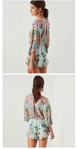 Boho Rompers  Lotus Floral Print Playsuits With Sashes High Waist Gyps Bohemia Bodysuit