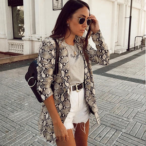 Women Snake Print Blazer Pockets Notched Collar Coat