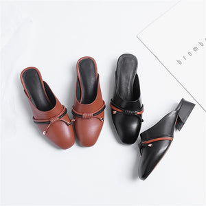 Women Slippers Genuine Leathe Fashion Simple Square Toe Summer Shoes