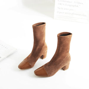 Women Suede Ankle Boots High Heels Shoes Autumn Winter