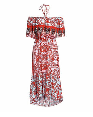 Boho Floral Print Off Shoulder Maxi Dress Ruffles Halter Holiday Beach
