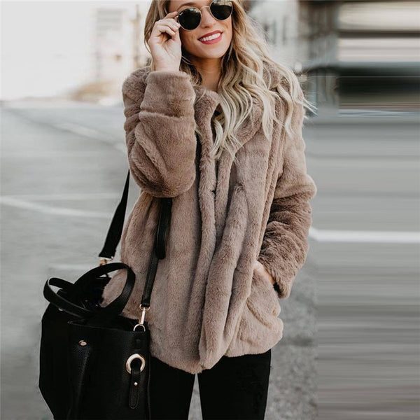 Faux Fur Teddy Bear Coat Jacket Women Casual Autumn Winter Outerwear